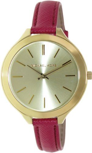 Michael Kors Womens Leather Slim Runway Watch GoldPink One Size ** Read more rev...