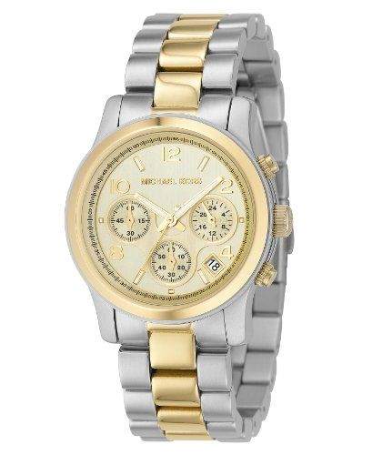 Michael Kors Womens MK5137 TwoTone Runway Watch *** Learn more by visiting the i...