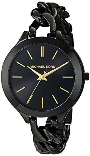 Michael Kors Womens Midnight Safari Slim Runway Twist Watch Black One Size ** Be...