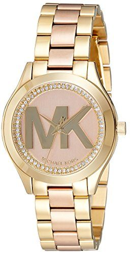 Michael Kors Womens Mini Slim Runway GoldTone Watch MK3650 -- Click on the image...