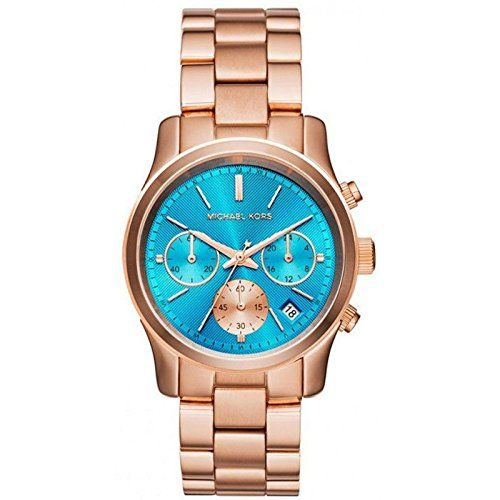 Michael Kors Womens Runway Watch Rose GoldBlue One Size ** You can find more det...