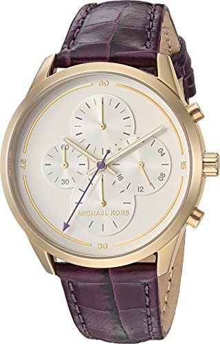 Michael Kors Womens Slater Quartz Stainless Steel and Leather Casual Watch Color...
