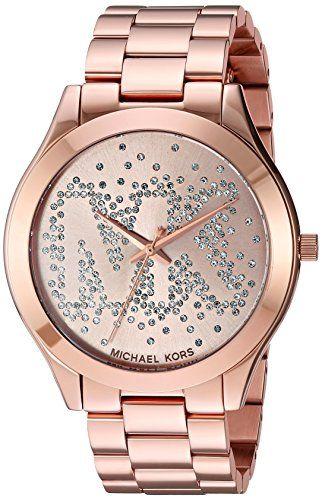 Michael Kors Womens Slim Runway Logo Rose GoldTone Watch MK3591 ** You can find ...