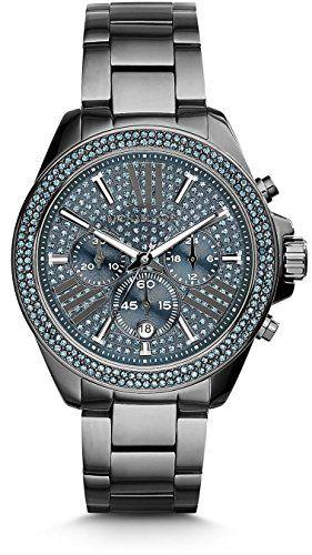Michael Kors Wren Chronograph Blue Crystal Pave Dial Gunmetal Ion-plated WOMENS ...