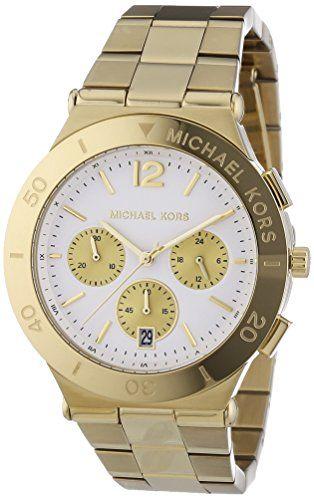 Michael Kors Wyatt Chronograph White Dial Gold Ion-plated Ladies Watch MK5933 * ...