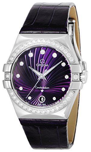 OMEGA Constellation Purple Dial Alligater lethaer Band 100M Wraterproog 12318356...