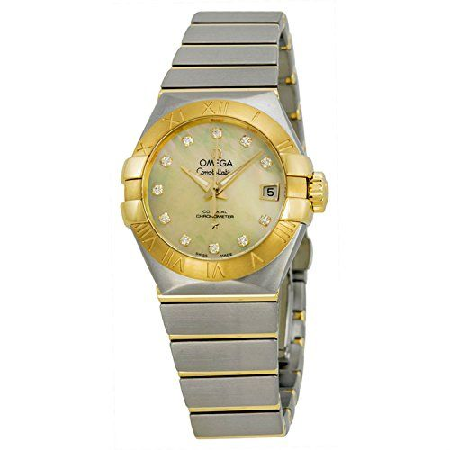 Omega Constellation Automatic Mother of Pearl Dial Stainless Steel 18kt Gold Lad...
