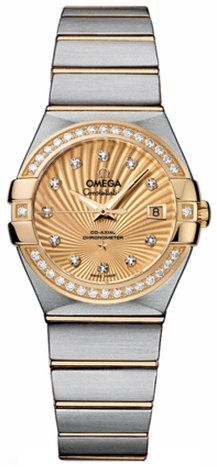 Omega Constellation Champagne Diamond Dial Steel and 18kt Yellow Gold Ladies Wat...