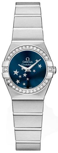 Omega Constellation Diamond Blue Star Dial Stainless Steel Ladies Watch 12315246...