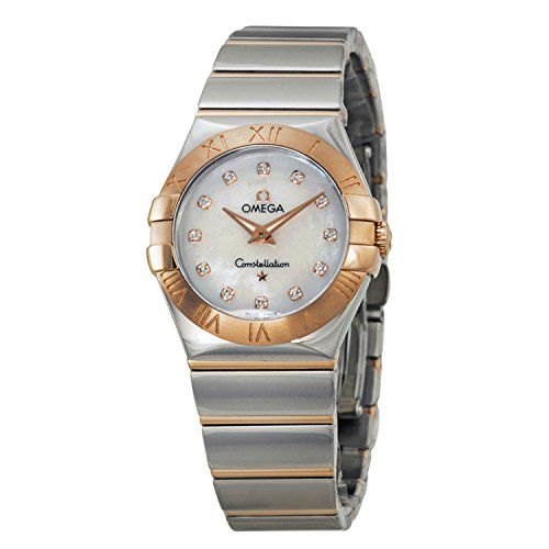 Omega Constellation Diamond Mother of Pearl Dial Steel and Rose Gold Ladies Watc...