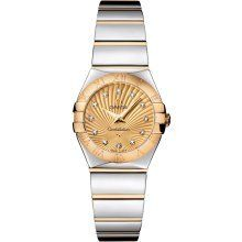 Omega Constellation Gold Diamond Dial Steel and Gold Ladies Watch 12320246058002...