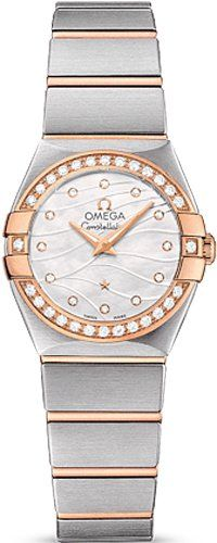 Omega Constellation Mother of Pearl Diamond Dial Steel and 18kt Rose Gold Ladies...