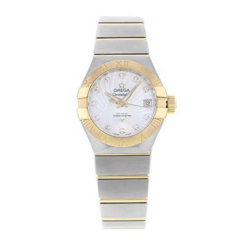 Omega Constellation Mother of Pearl Diamond Dial Steel and 18kt Yellow Gold Ladi...