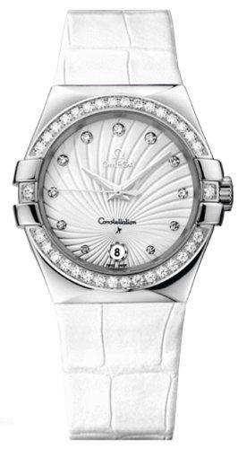 Omega Constellation White Diamond Dial Stainless Steel White Alligator Ladies Wa...