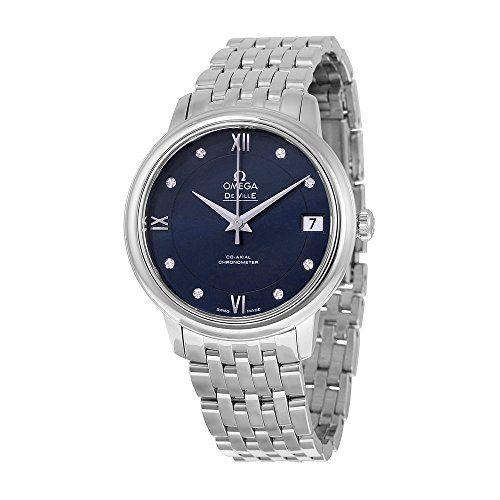 Omega De Ville Prestige Automatic Blue Diamond Dial Stainless Steel Ladies Watch...
