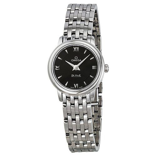 Omega De Ville Prestige Black Dial Stainless Steel Ladies Watch 42410246001001 -...