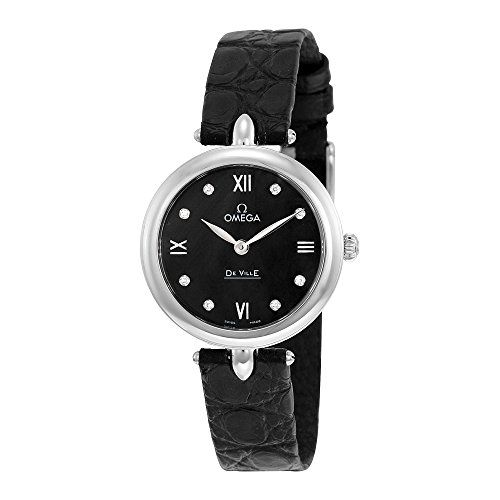 Omega De Ville Prestige Black Diamond Dial Leather Strap Ladies Watch 424.13.27....