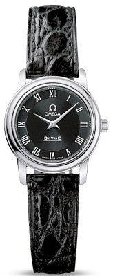 Omega DeVille Prestige Black Dial Steel Black Alligator Leather Ladies Watch 487...