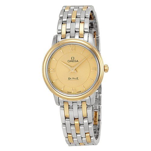 Omega DeVille Prestige Champagne Dial Steel and Yellow Gold Ladies Watch 4242027...