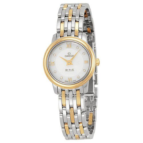 Omega DeVille Prestige Mother of Pearl Diamond Steel and Yellow Gold Ladies Watc...
