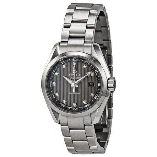 Omega Seamaster Aqua Terra Diamond Dark Grey Dial Stainless Steel Ladies Watch 2...