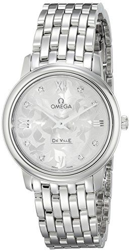 Omega Women's Diamond-Accented Stainless Steel Watch 42410276052001 *** Visi...