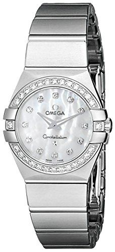 Omega Womens MotherofPearl Dial Diamond Accent Watch 12315246055001 -- Details c...