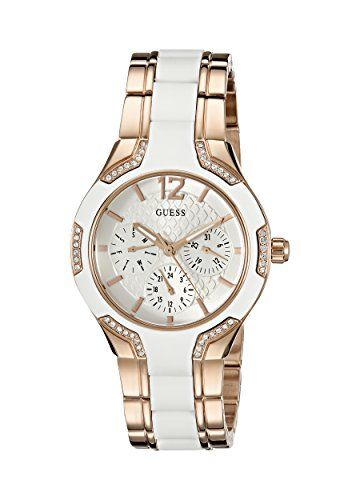 GUESS Womens U0556L3 Sporty Rose GoldTone Watch with White Dial  CrystalAccented...
