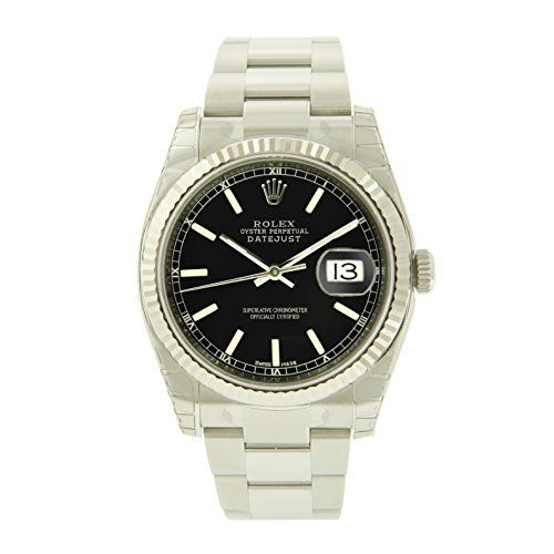 Oyster Perpetual DateJust Stainless Steel 18K White Gold Fluted Bezel Black Stic...