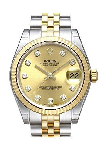 ROLEX Datejust 31 Champagne Diamond Dial Steel and Yellow Gold Ladies Watch 1782...