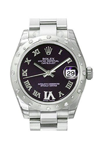 ROLEX Datejust 31 Purple Diamond Dial Stainless Steel and 18K White Gold Ladies ...