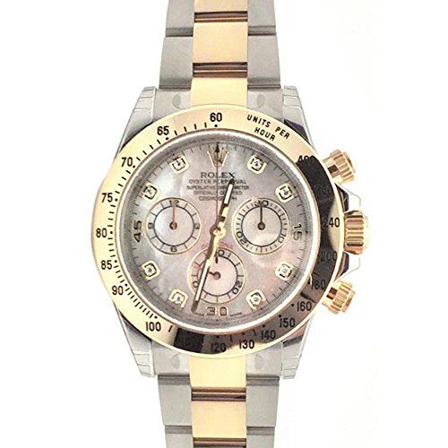 Rolex Cosmograph Daytona 40 Mother of Pearl Diamond Dial Gold Bracelet Watch 116...