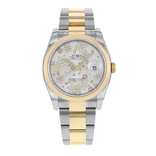 Rolex Datejust Automatic Silver Floral Dial Steel and 18ke Yellow Gold Unisex Wa...