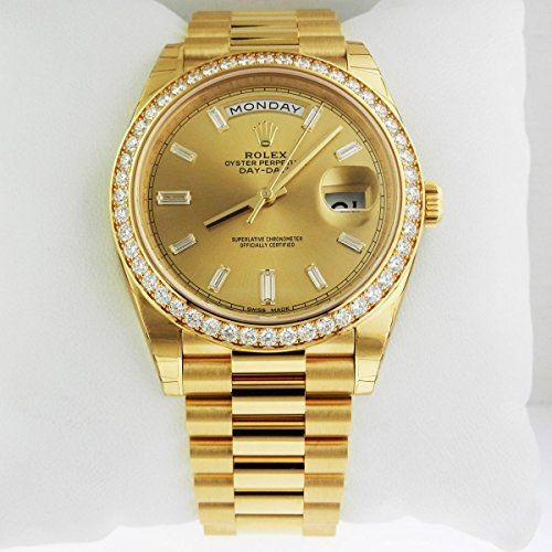 Rolex Day-Date 40 President Yellow Watch Diamond Bezel Baguette Diamond Dial 228...