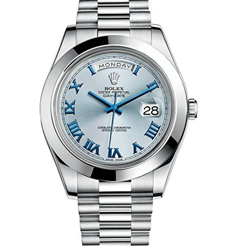 Rolex Day-Date II 41 President Platinum Watch Ice Blue Dial 218206 Box/Papers **...