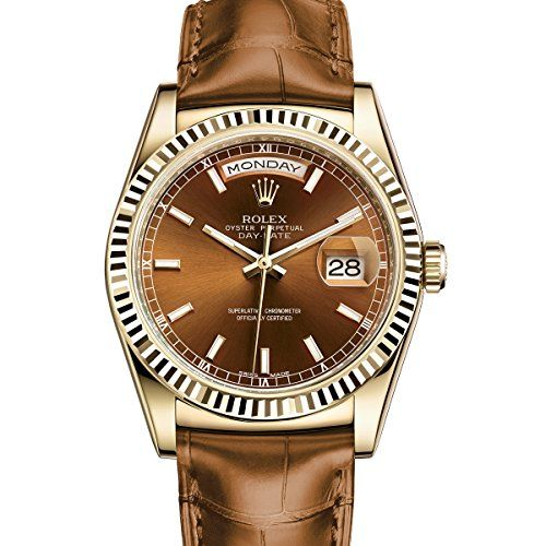 Rolex Day-Date President 36 Yellow Gold Watch Cognac Leather Strap 118138 *** Re...
