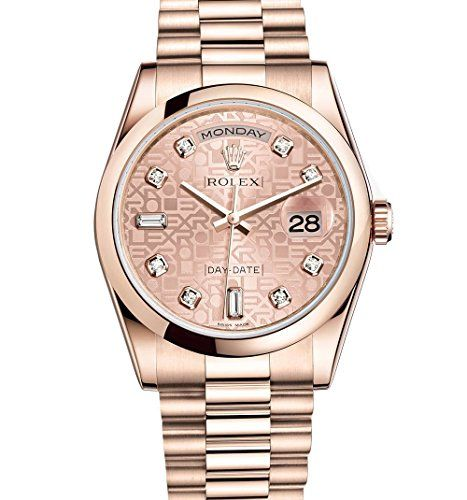 Rolex Day-Date President 36mm Everose Gold Watch 118205 Pink Jubilee Diamond Dia...
