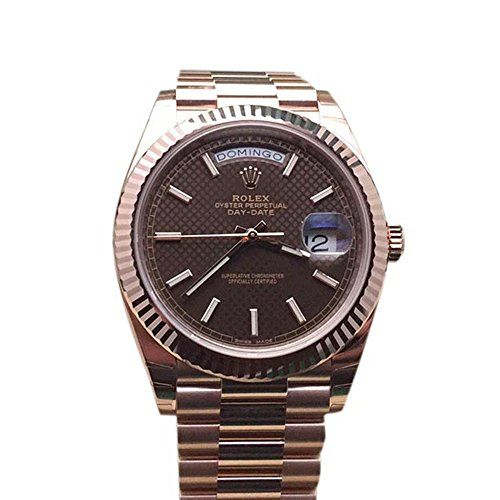 Rolex Day-date 40mm Chocolate Diagonal Motif Dial Rose Gold Watch 228235 * You c...