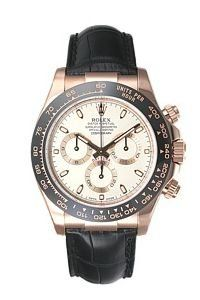 Rolex Daytona Mens Rose Gold Watch Chocolate Dial Black Leather Strap 116515 LN ...