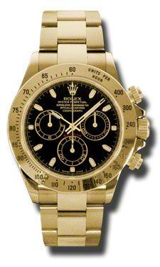 Rolex Daytona Yellow Gold Bracelet Watch, Black Index Dial * To view further for...