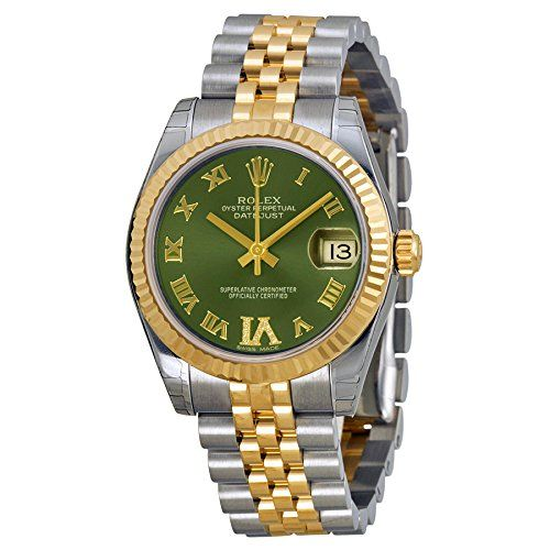 Rolex Lady Datejust Automatic Green Dial Jubilee and Stainless Steel Band Ladies...