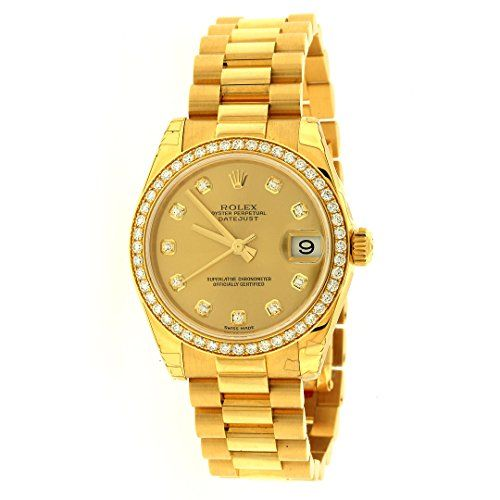 Rolex Lady Datejust Automatic White Dial 18k Yellow Gold Watch 179178WSO -- For ...