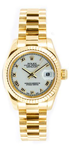 Rolex Ladys President New Style Heavy Band 18k Yellow Gold Model 179178 Fluted B...
