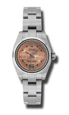Rolex No Date Pink Oversized Arabic Dial Domed Bezel Stainless Steel Oyster Brac...