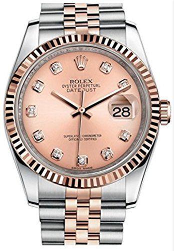 Rolex Oyster Perpetual DateJust 36mm Pink Diamond Dial Jubilee Gold Steel Bracel...