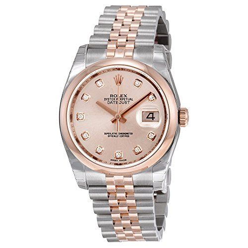 Rolex Oyster Perpetual Datejust 36 Automatic Pink Dial 18kt Everose Gold and Sta...