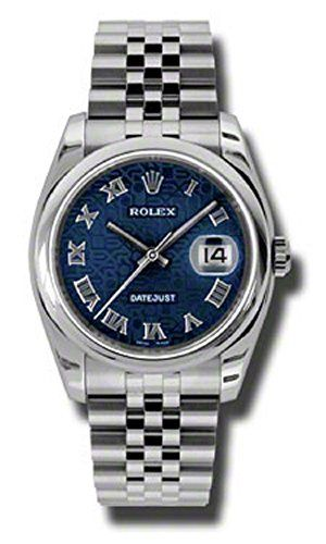 Rolex Oyster Perpetual Datejust 36mm Stainless Steel Case, Domed Bezel, Blue Jub...