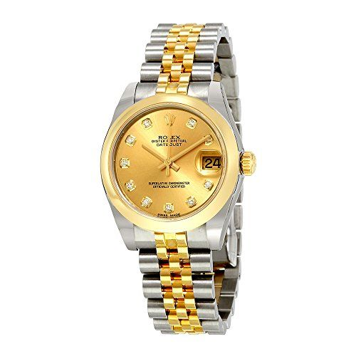 Rolex Oyster Perpetual Datejust Champagne Dial Automatic Stainless Steel and 18 ...