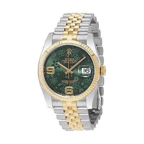 Rolex Oyster Perpetual Datejust Green Floral Dial Steel and 18K Yellow Gold Jubi...