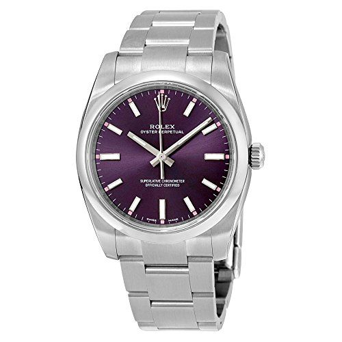 Rolex Oyster Prepetual Automatic Purple Grape Dial Stainless Steel Unisex Luxury...